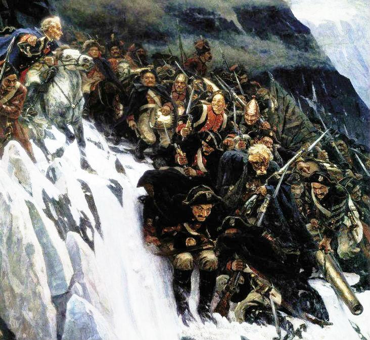 Суриков, Переход через Альпы